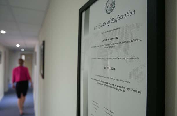 Certificat QA de Jetting Systems